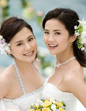 Hong Kong Female Duo Twins Charlene Choi Cheuk Yin And Gillian Chung Yan Tung Were Shot Series Of Wedding Photos For A Gown Brand France